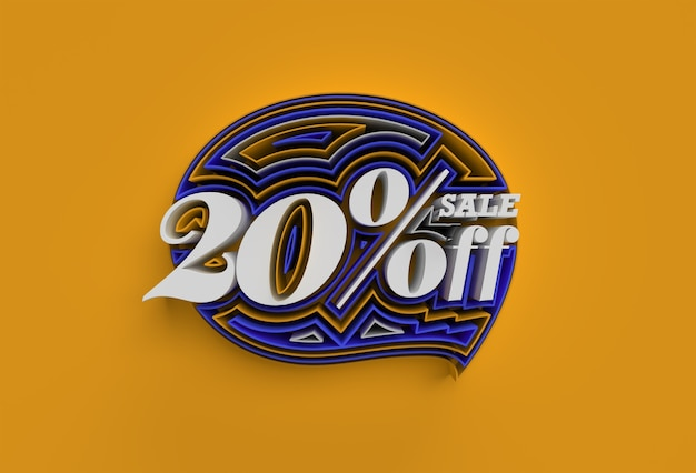 3d render abstract rotto 20% di vendita di sconto sconto banner 3d illustration design.