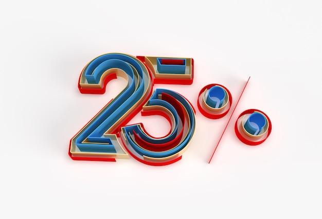 3d render abstract rotto 25% percentuale vendita off sconto banner 3d illustration design.