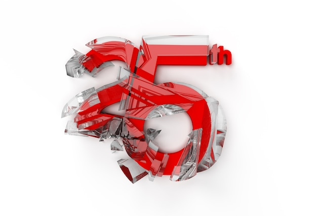 3d render abstract numero rotto 25 banner 3d illustration design.