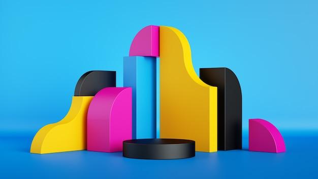 3d rendono il modello di visualizzazione del prodotto vuoto di forme geometriche colorate astratte con palcoscenico vuoto