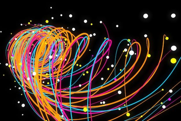 Rendering 3d, sfondo cosmico astratto, raggi al neon ultravioletti, linee luminose, rete informatica, velocità