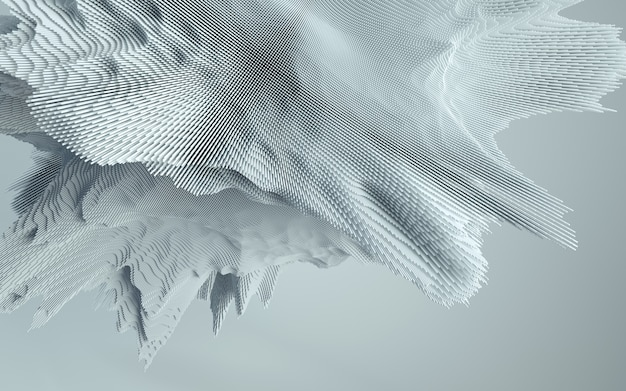 Rendering 3d di forma astratta deatailed. sfondo futuristico dinamico.
