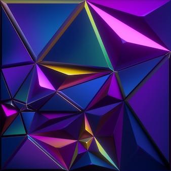 Rendering 3d di sfondo sfaccettato astratto con struttura metallica blu viola rosa iridescente