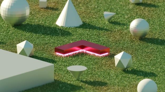 Rendering 3d oggetto geometrico astratto freccia rossa sull'erba a mezzogiorno luminoso
