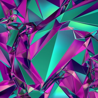 Rendering 3d di sfondo sfaccettato poligonale verde rosa geometrico astratto