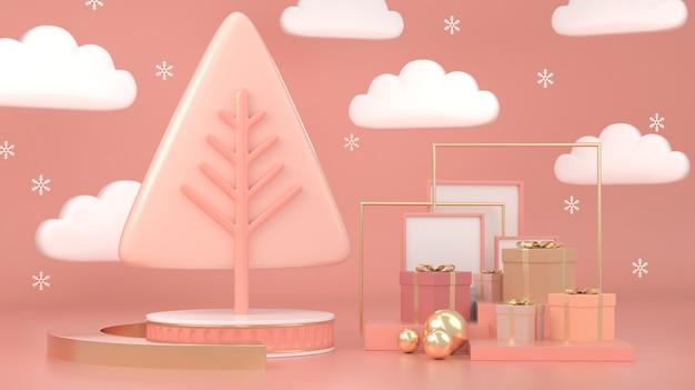 3d rendono della decorazione geometrica astratta di concetto di scena dell'albero di natale di forma