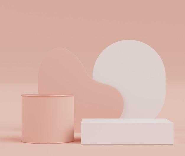 Rendering 3d di podi minimi astratti visualizzati in bellissimi colori pastello rosa chiaro