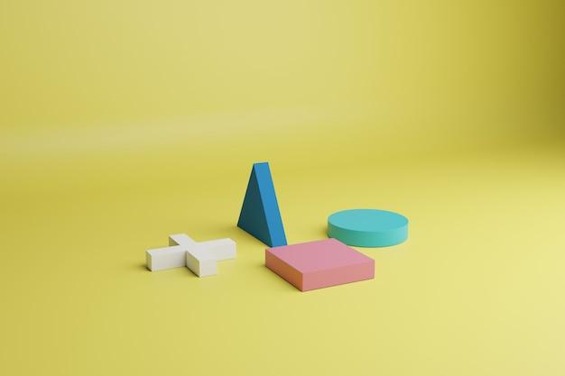 Rendering 3d scena minima astratta con forme geometriche multicolori su uno sfondo giallo
