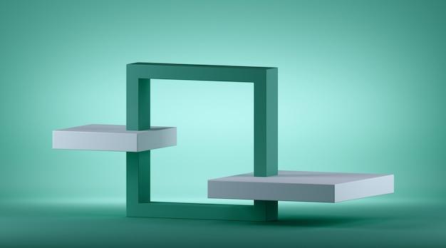 Rendering 3d di sfondo geometrico verde menta astratto con cornice quadrata isometrica.