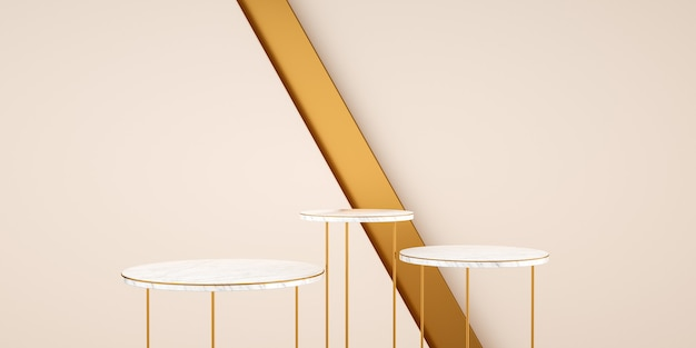 Rendering 3d, sfondo astratto e moderno con marmo bianco e oro. piattaforma vuota