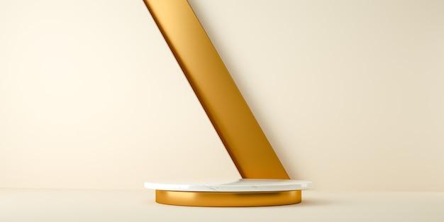 Rendering 3d, sfondo minimalista astratto e moderno con marmo bianco e oro. piattaforma vuota