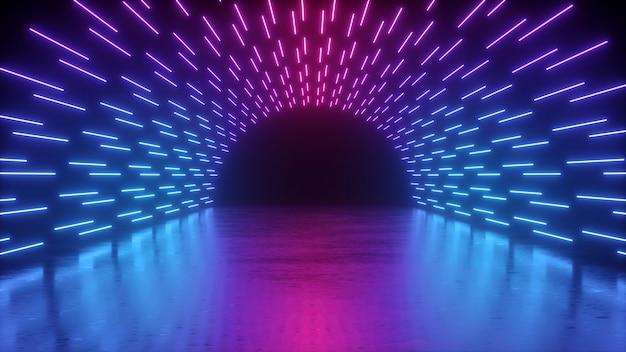 Rendering 3d, neon astratto del palco con linee luminose blu rosa