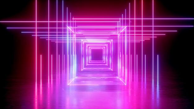 Rendering 3d di neon astratto con forma quadrata e linee rosa incandescente