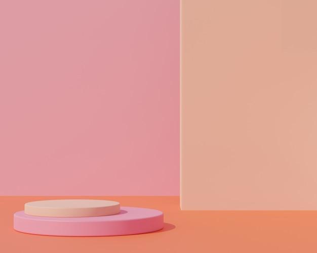 Rendering 3d, astratto sfondo rosa con podio di forma geometrica per prodotto, concetto minimo, colore autunnale