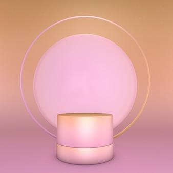 Rendering 3d di composizione sfumata rosa astratta con arco a tutto sesto. il piedistallo minimal studio può essere utilizzato per la pubblicità