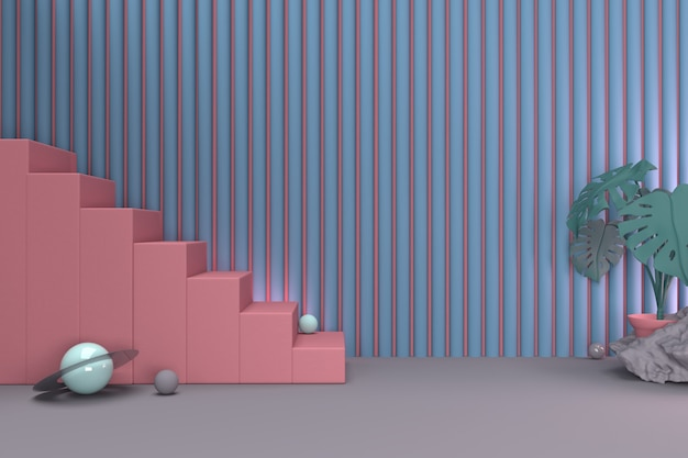Rendering 3d scale e pianta rosa astratte