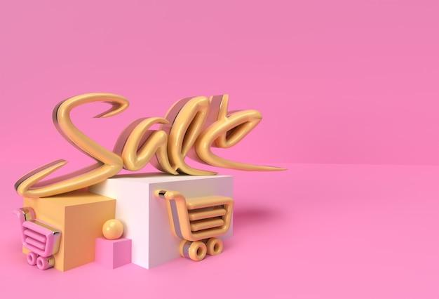 3d render abstract vendita testo display prodotti pubblicità. progettazione dell'illustrazione del manifesto del volantino.