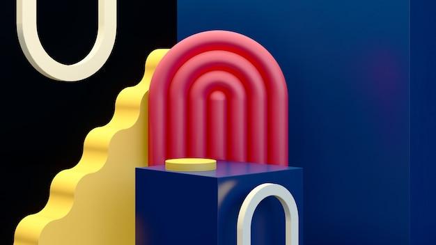 3d rendono l'immagine surreale astratta il podio blu con la pubblicità dell'esposizione del prodotto dello sfondo scuro