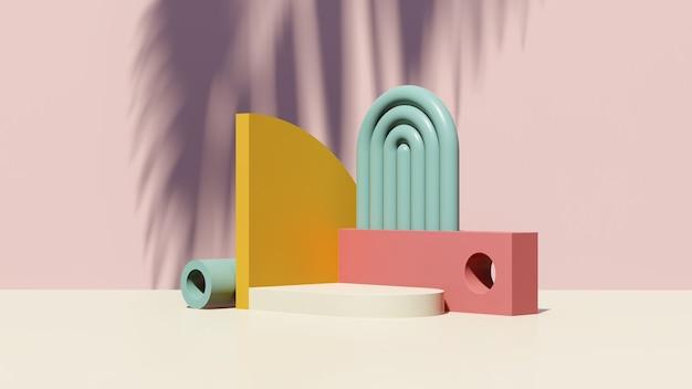 3d rendono l'immagine surreale astratta del podio bianco con la pubblicità dell'esposizione del prodotto di sfondo rosa