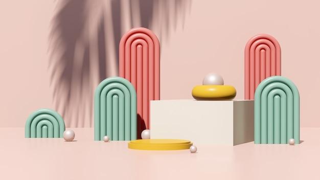 3d rendono l'immagine surreale astratta il podio giallo con la pubblicità dell'esposizione del prodotto di sfondo rosa