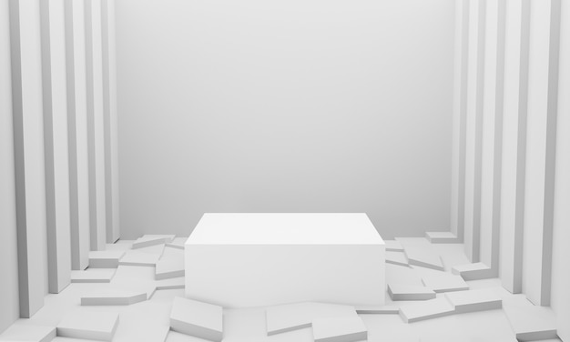Rendering 3d di sfondo bianco astratto podio per il prodotto di visualizzazione.