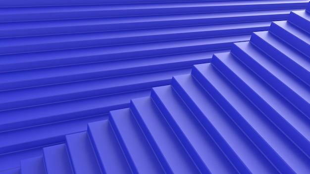 3d rendono l'illusione delle scale blu di astrazione