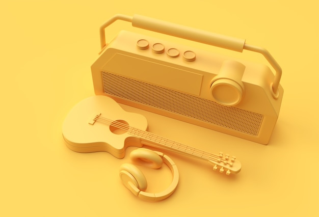 3d render cuffie di musica per chitarra acustica con la vecchia illustrazione vintage radiofonica in stile retrò 3d design.