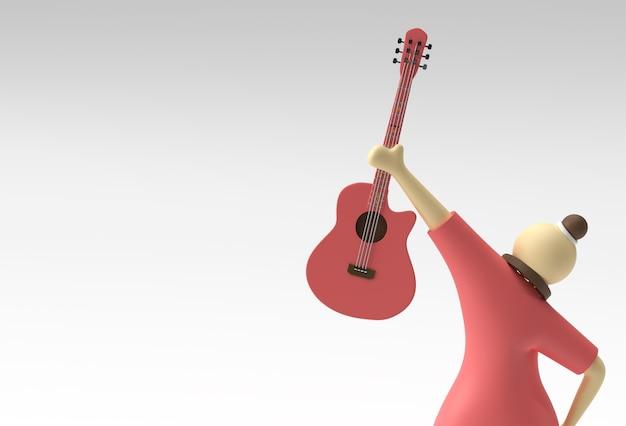 3d rendono la chitarra acustica con la progettazione dell'illustrazione 3d dei personaggi dei cartoni animati della donna.