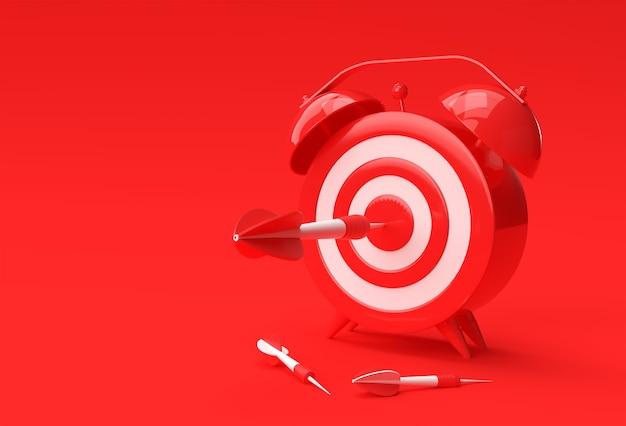 3d render sveglia target con freccia gestione del tempo, pianificazione, targeting aziendale e soluzioni intelligenti design.