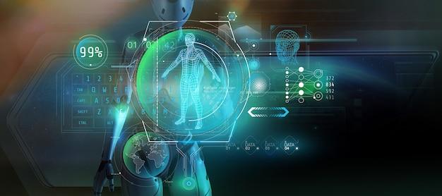 Rendering 3d l'alieno sta studiando il set di dati sull'uomo