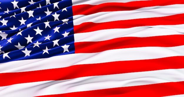 Rendering 3d della bandiera americana per il memorial day, 4 luglio, giorno dell'indipendenza.