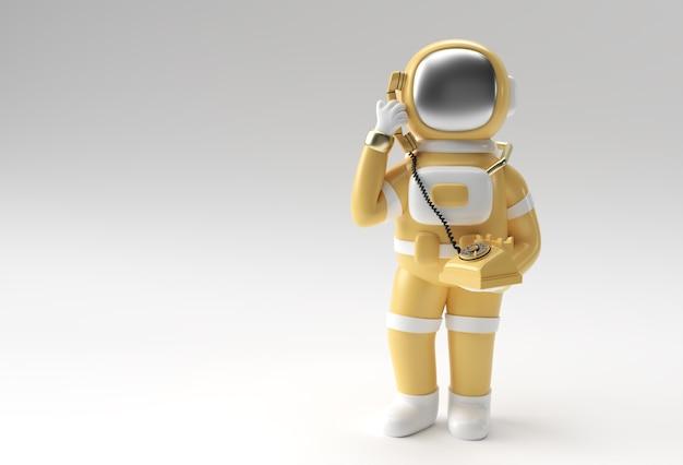Rendering 3d astronauta chiamando gesto con il vecchio telefono 3d illustrazione design.
