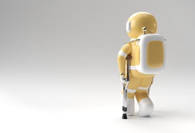 Rendering 3d astronauta disabilitato utilizzando le stampelle per camminare nella progettazione dell'illustrazione 3d.