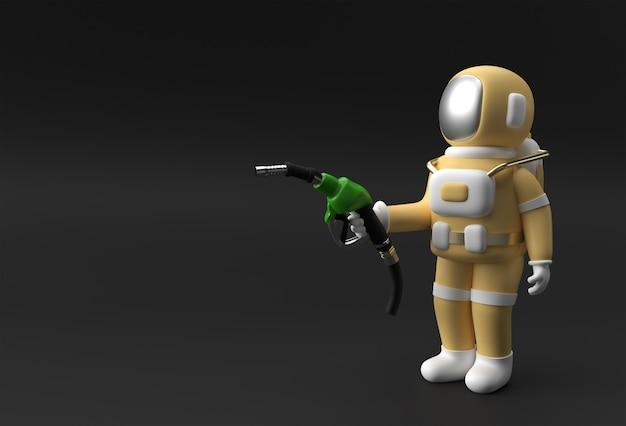 3d render astronauta riempimento pompa carburante illustrazione ugello design.