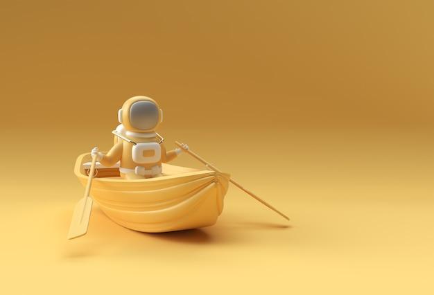 3d rendono di un divertimento dell'astronauta sull'illustrazione 3d della barca.