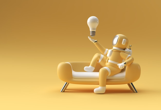 3d rendono l'astronauta che tiene la lampadina che si siede sulla progettazione dell'illustrazione del modello 3d del sofà.