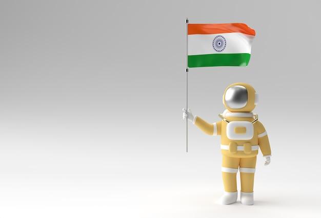 Rendering 3d astronauta che tiene bandiera dell'india. concetto di festa dell'indipendenza dell'india.