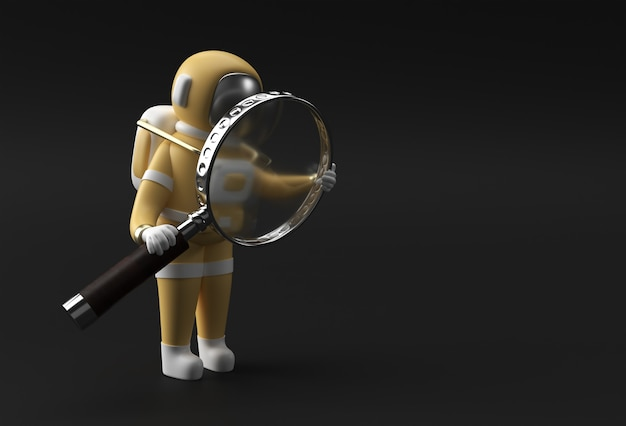 3d render astronauta holding lente di ingrandimento su uno sfondo nero.
