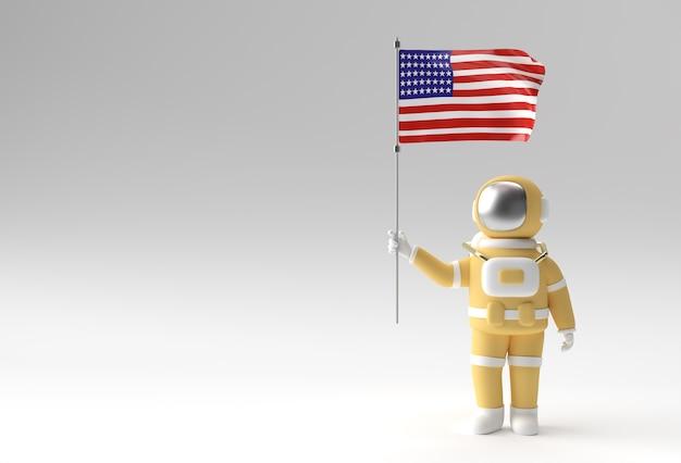 Rendering 3d astronauta che tiene bandiera degli stati uniti. 4 luglio concetto di festa dell'indipendenza degli stati uniti.