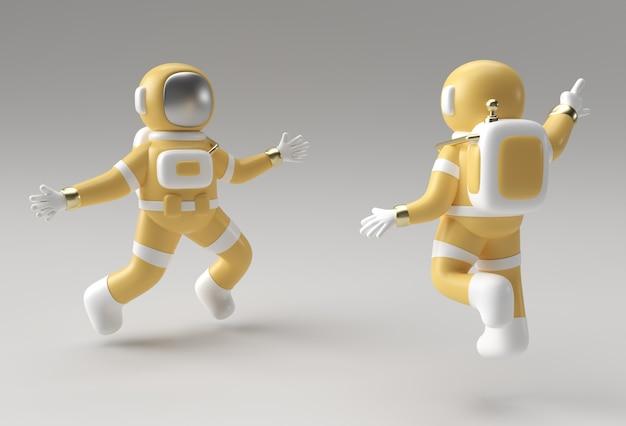 Rendering 3d astronauta che salta in azione 3d illustrazione design.