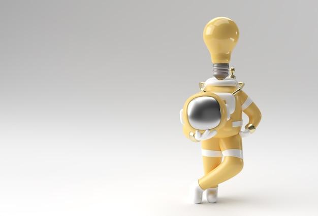 Rendering 3d lampadina astronauta invece della testa 3d illustrazione design.