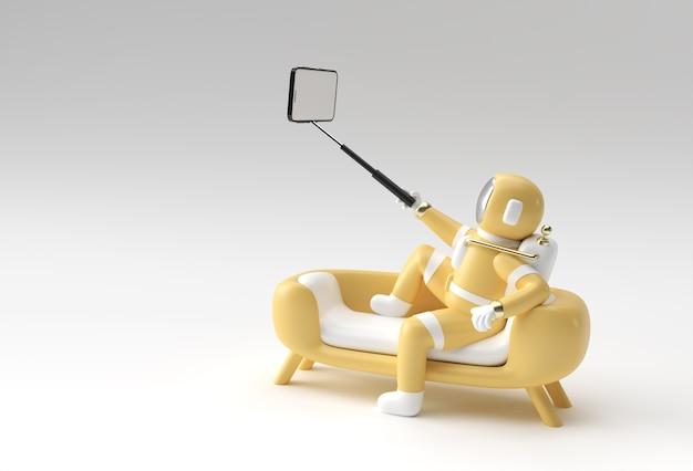 Rendering 3d l'astronauta fa la progettazione dell'illustrazione 3d del selfie.