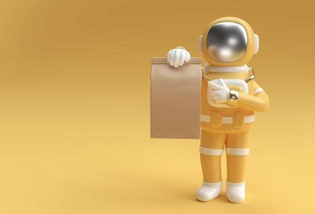Rendering 3d uomo astronauta che consegna un pacchetto 3d illustrazione design.