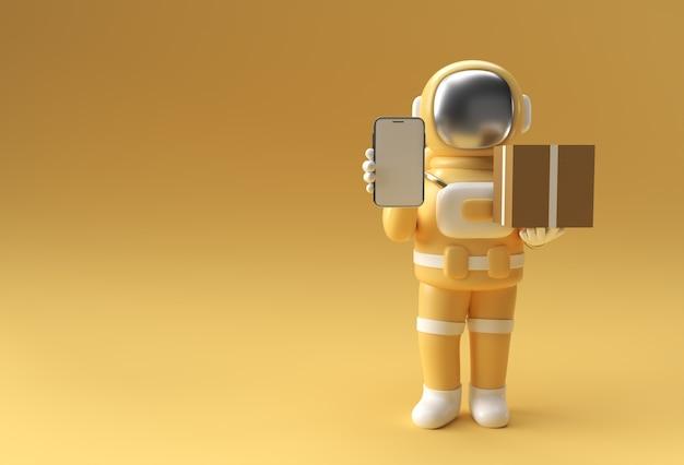 Rendering 3d uomo dell'astronauta che consegna un pacchetto con progettazione mobile in bianco dell'illustrazione 3d del modello.