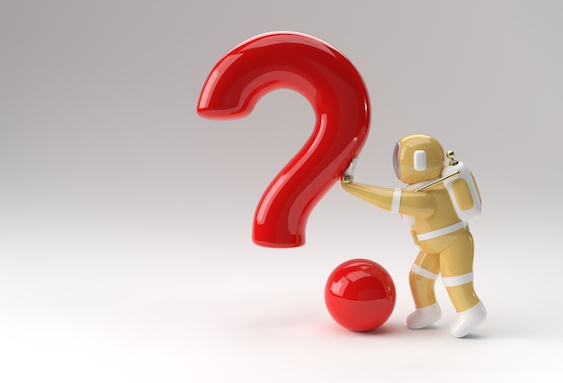 3d rendono l'astronauta che spinge la progettazione dell'illustrazione del punto interrogativo 3d.
