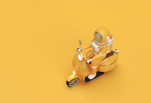 3d render astronauta in sella a motorino vista laterale su uno sfondo giallo.