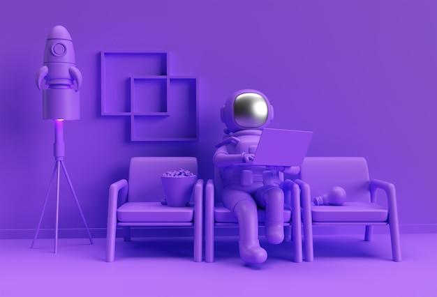 Rendering 3d astronauta in tuta spaziale che lavora al computer portatile, progettazione dell'illustrazione 3d.