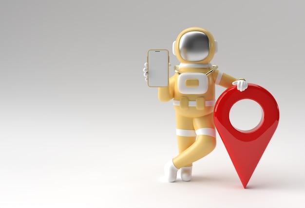 3d render astronauta con la progettazione dell'illustrazione del puntatore della mappa 3d.