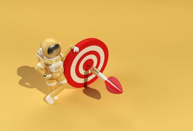 3d rendono l'astronauta con il disegno dell'illustrazione dell'obiettivo 3d.
