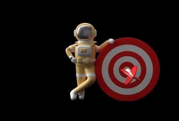 3d rendono l'astronauta con la progettazione dell'illustrazione dell'obiettivo 3d.